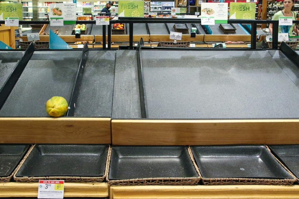 Empty supermarket shelf