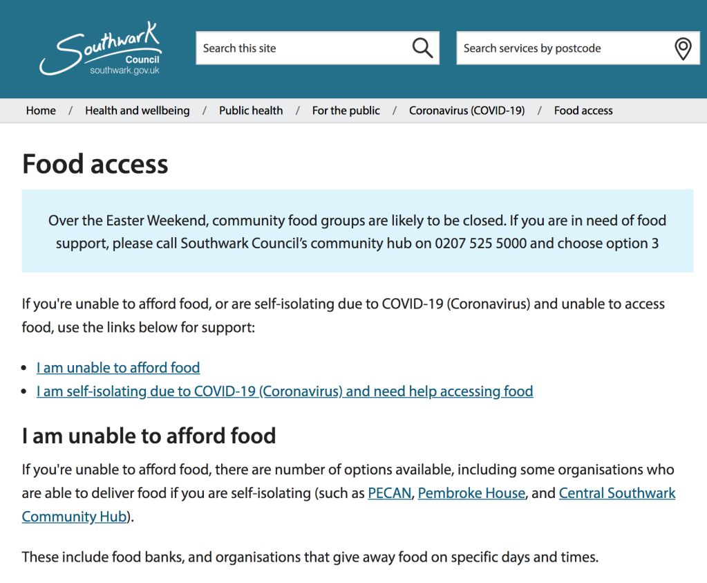 Southwark Council food access advice